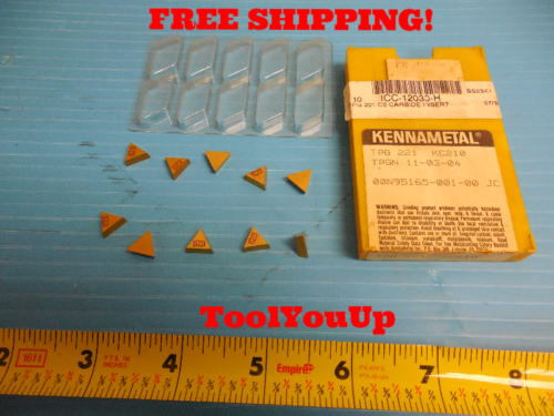 #2127-1022x10 TPG221 Carbide Inserts TiN Coated 10 Pcs//Box