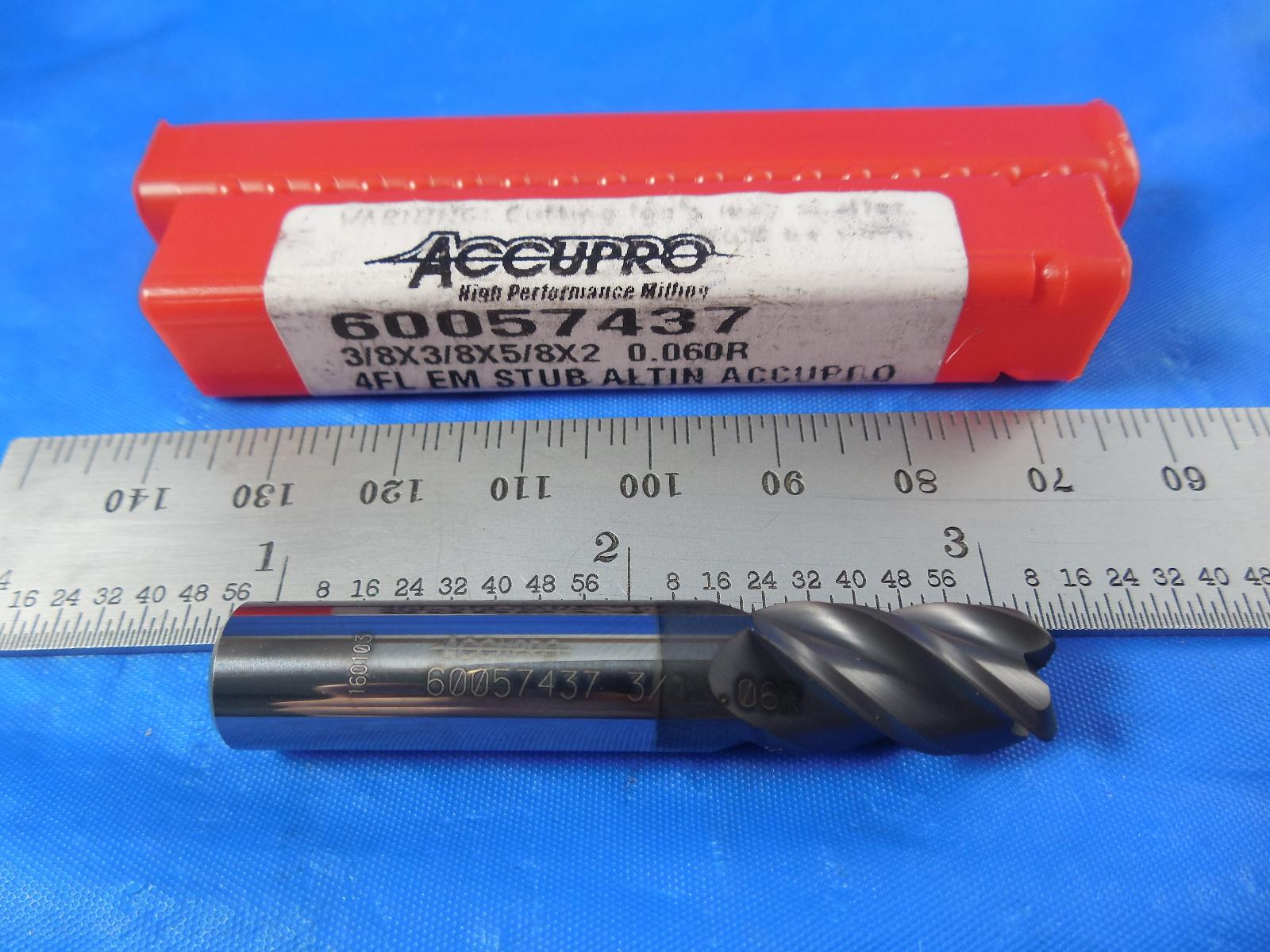 "Accupro 3//8/"" Diam 4 Fl Single End Carbide 0.06/"" Corner Radius End Mill 08486425"