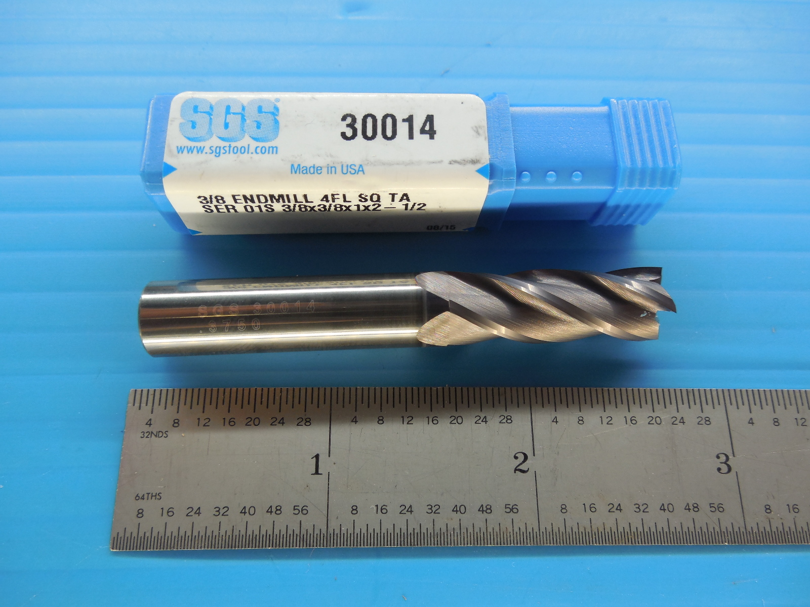 "brand 3//8/"" SOLID CARBIDE 4 FLUTE SINGLE END MILL SGS"