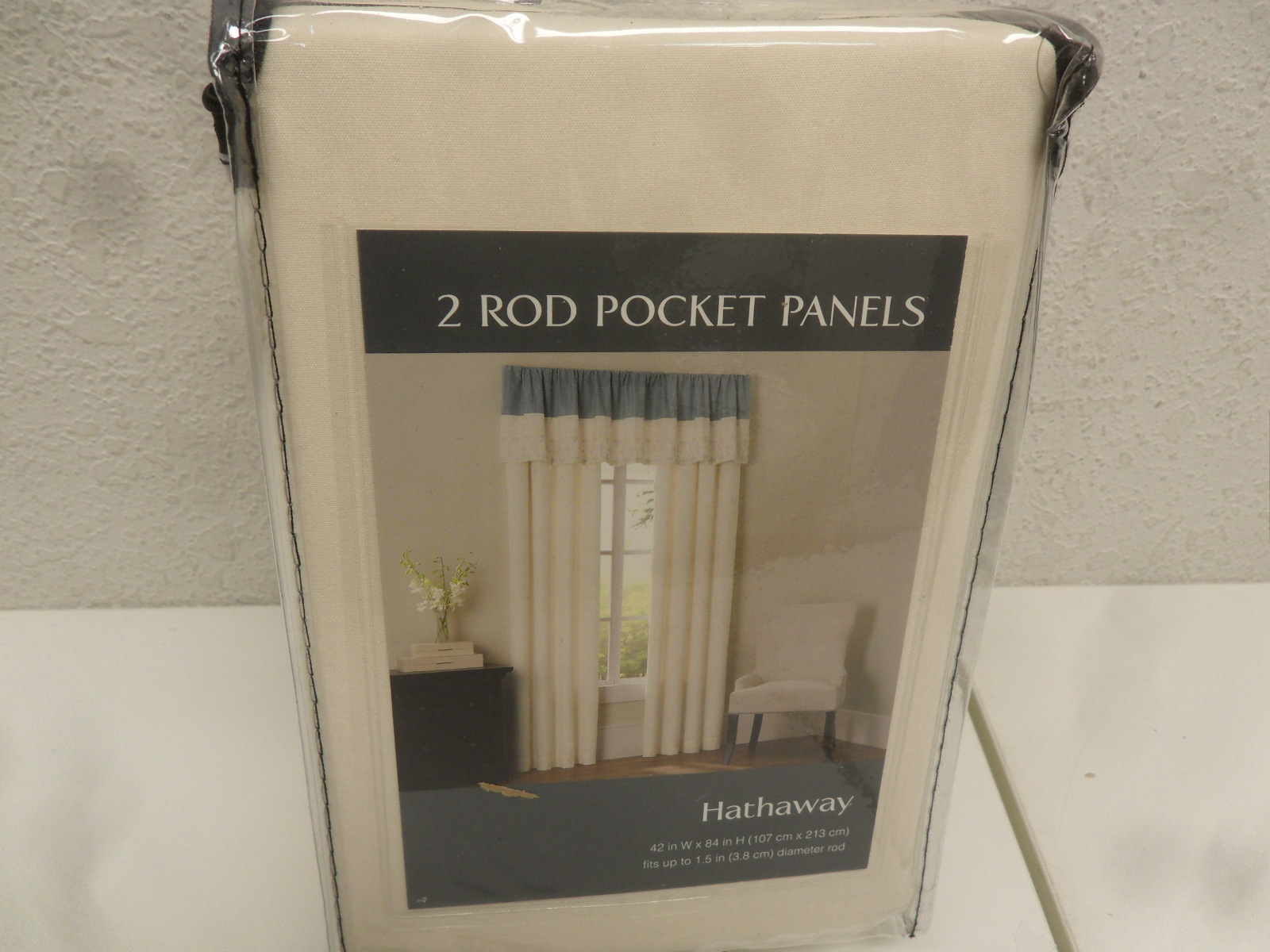 "Sunham Home Fashions 84"" Hathaway 2 Rod Pocket Curtain Window Panel Pair, Ivory"