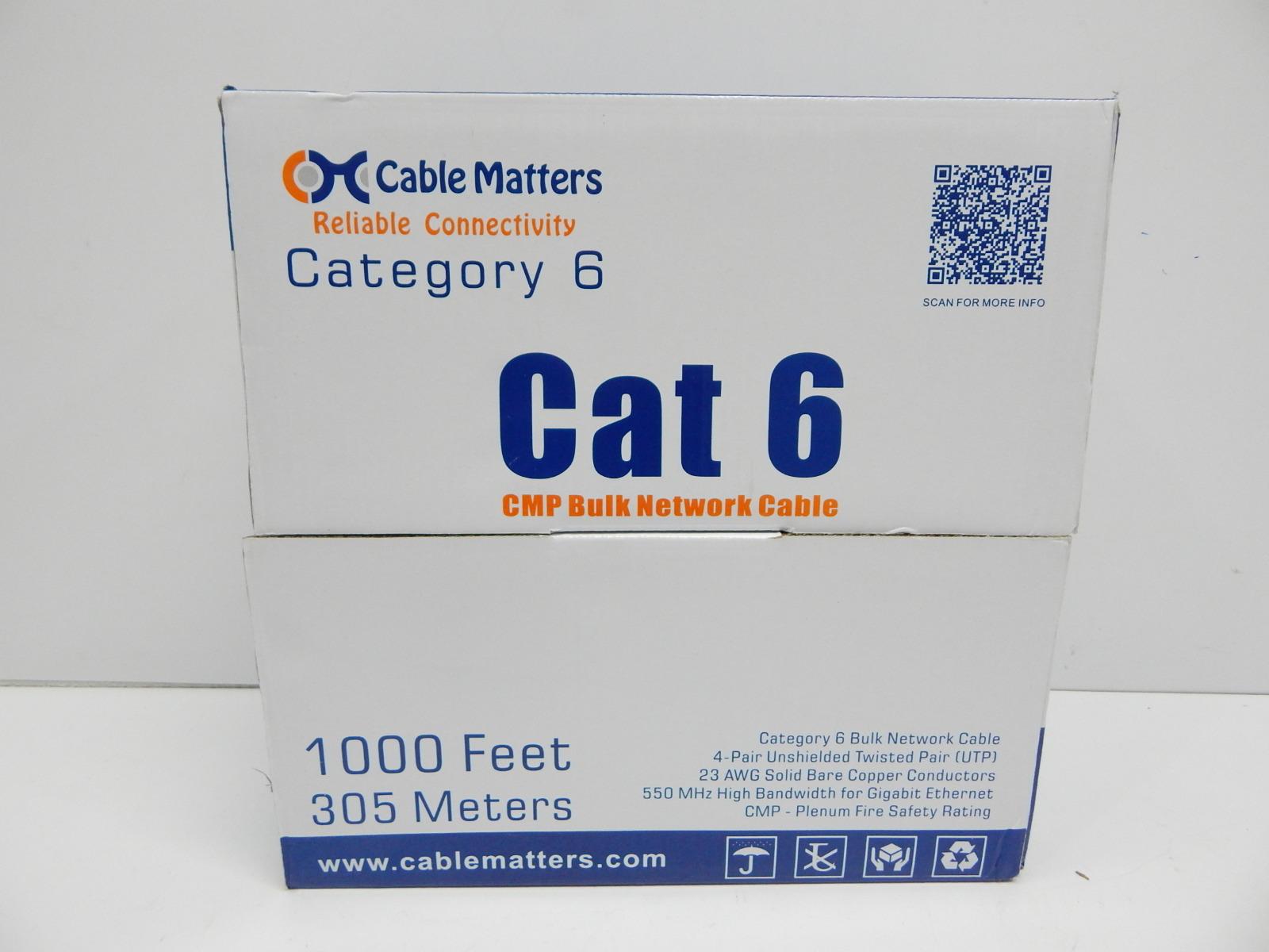 Cable Matters Plenum Jacket Cmp Cat6 Bulk Ethernet In Blue Gigabit Wiring 1000ft
