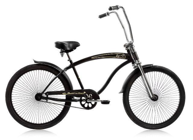 "Micargi ROVER-GT-MBK Men's 26"" Chopper Cruiser Bicycle Bike, Matte Black"