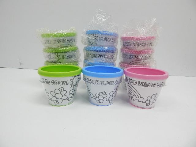 Fun Express Plastic Design Your Own Rainbow & Sunshine Flowerpot - 1 Dozen