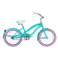 """Micargi FAMOUS-F-TBL Female 20"""" Beach Cruiser Steel Frame Bicycle Bike, Teal"""