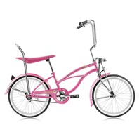 "Micargi HERO-F-PK Ladies 20"" Beach Cruiser Banana Seat Bicycle Bike, Pink"