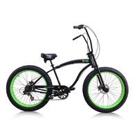 "Micargi Slugo-SS-BK/NGRN 26"" Fat Tire Chopper 7sp Cruiser Bicycle, Black/Green"