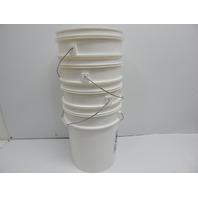 Dynalon 413124 White Polyethylene Lab Storage Pail w/o Cover, 5 Gal, 4ct BOX DMG