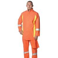 Superior RAIN045FRXL Flame-Retardant Reflective PVC Rainsuit, XL, Orange