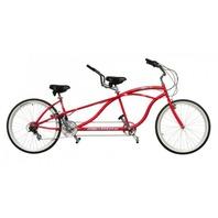"Micargi ISLAND-RED 26"" Tandem 7 Speed Steel Frame 2 Seater Bicycle Bike, Red"