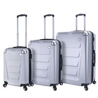 Mia Toro Italy M1302-SLV Accadia Hardside 3pc Spinner Luggage Suitcase, Silver
