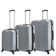 Mia Toro Italy M1303-ALU Acerra Hardside 3pc Spinner Luggage Suitcase, Aluminum