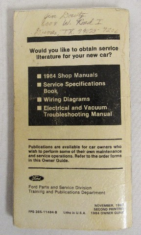 1984 lincoln town car owners manual book