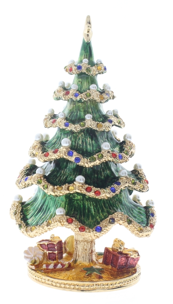 Jeweled Christmas Tree with Gifts Ciel Collectible Hinged Trinket ...