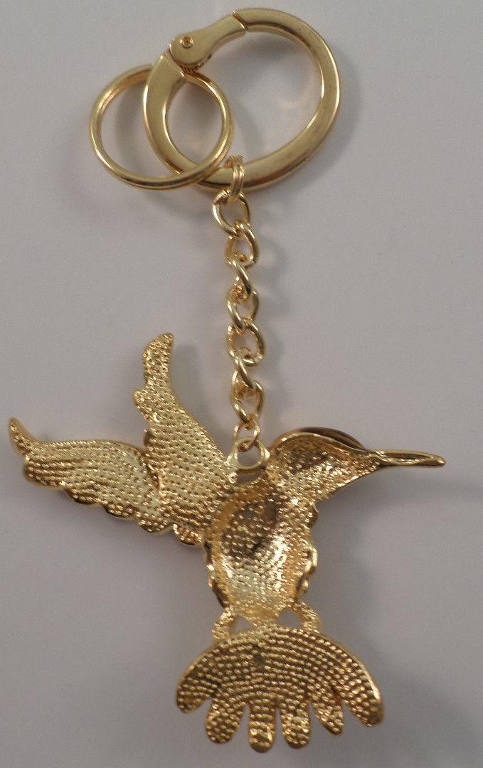 Rhinestone Bling Gold Tone Humming Bird Key Chain Fob Purse Charm ... b0dc6a9f9