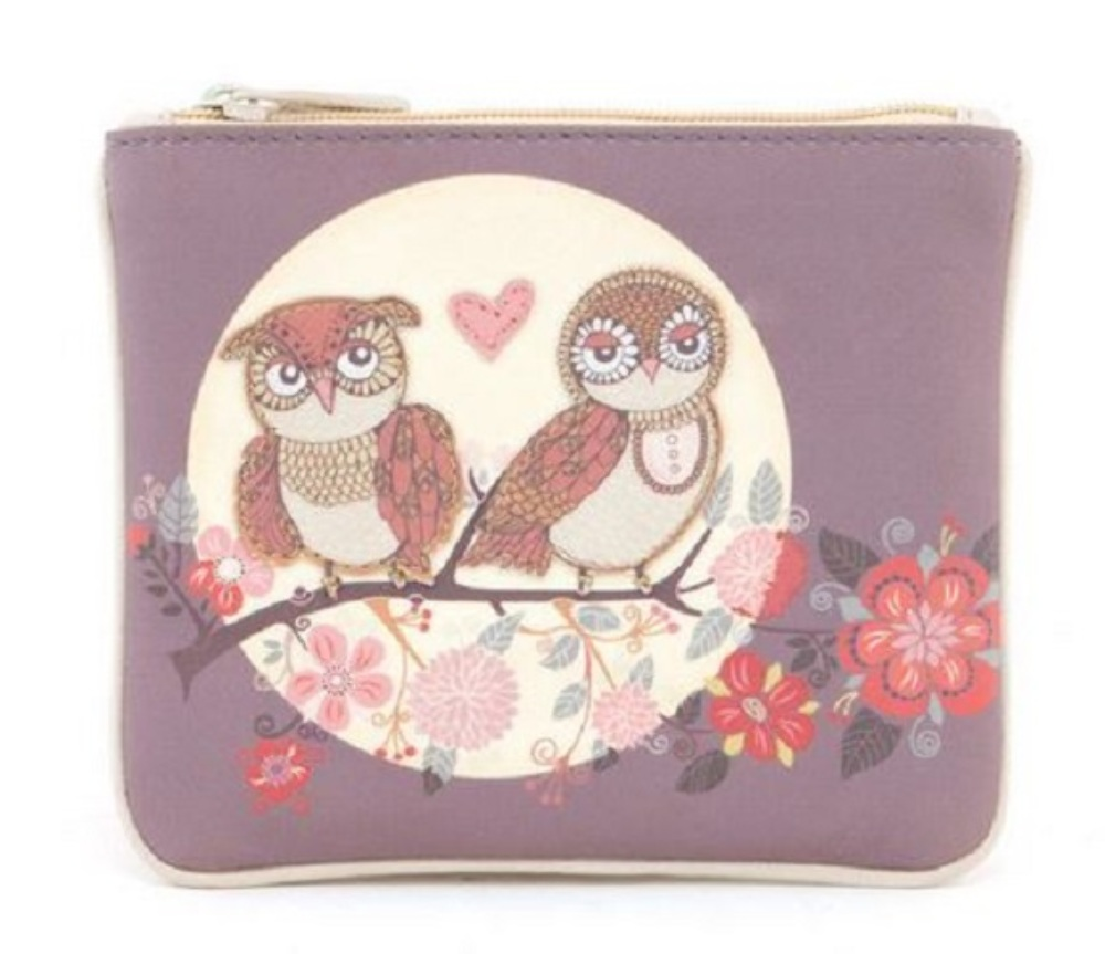 Harness Owls And Moon Leather Zip Applique Coin Wallet Purse