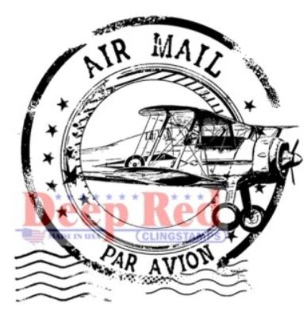 Deep Red Rubber Stamp Airmail Post Mark Par Avion Plane