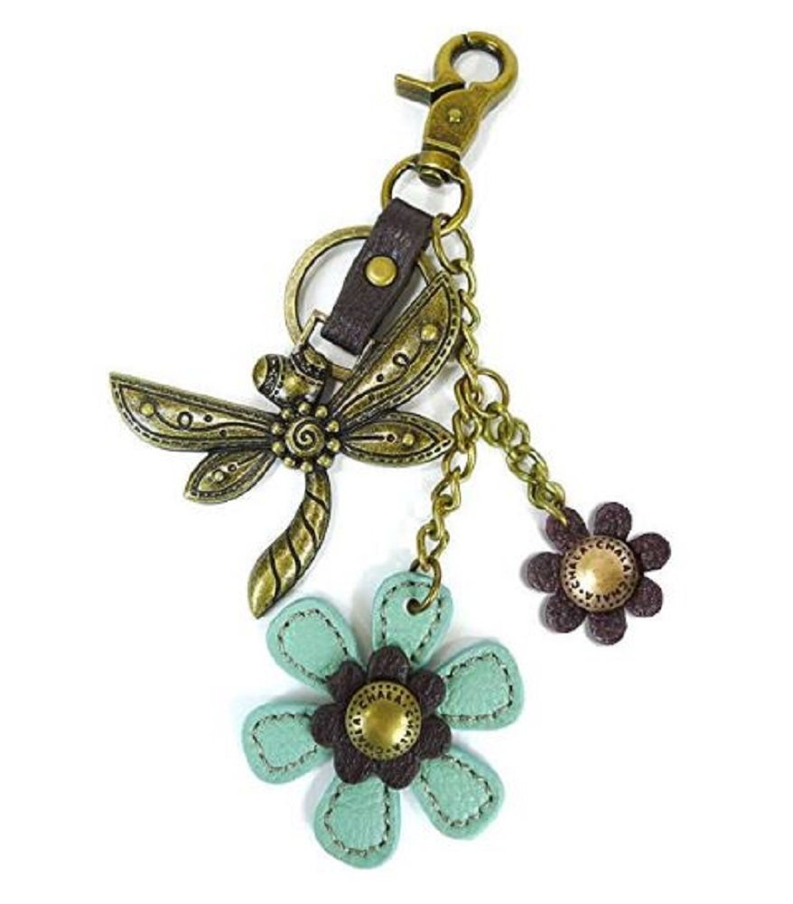 Chala Dragonfly And Flowers Charming Key Chain Purse Bag Fob Charm