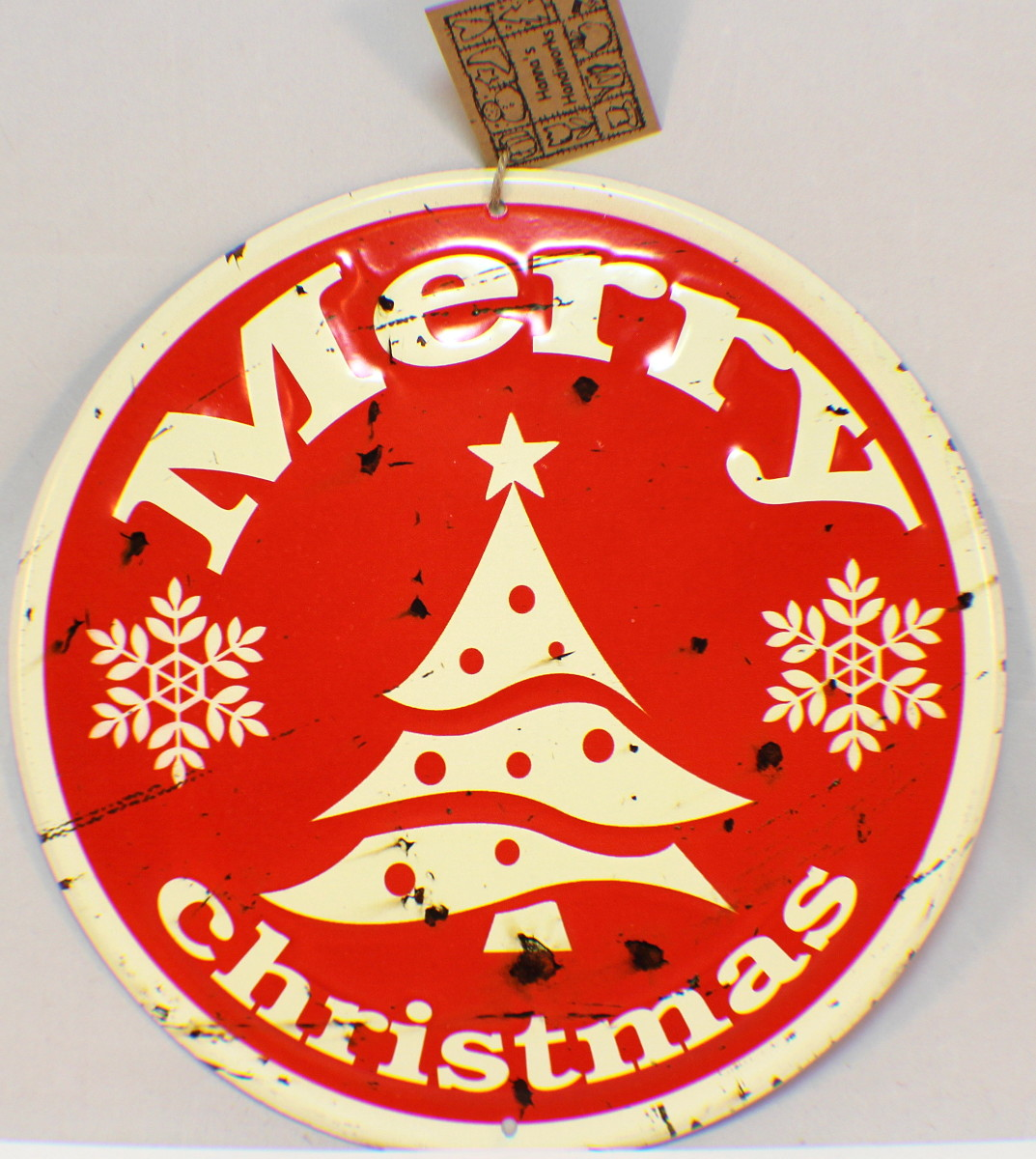 Merry Christmas Vintage Inspired Distressed Round Tree Decor Sign Santa Red