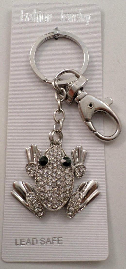Rhinestone Bling Frog with Green Eyes Charm Key Chain Purse Fob ... a04035f6c
