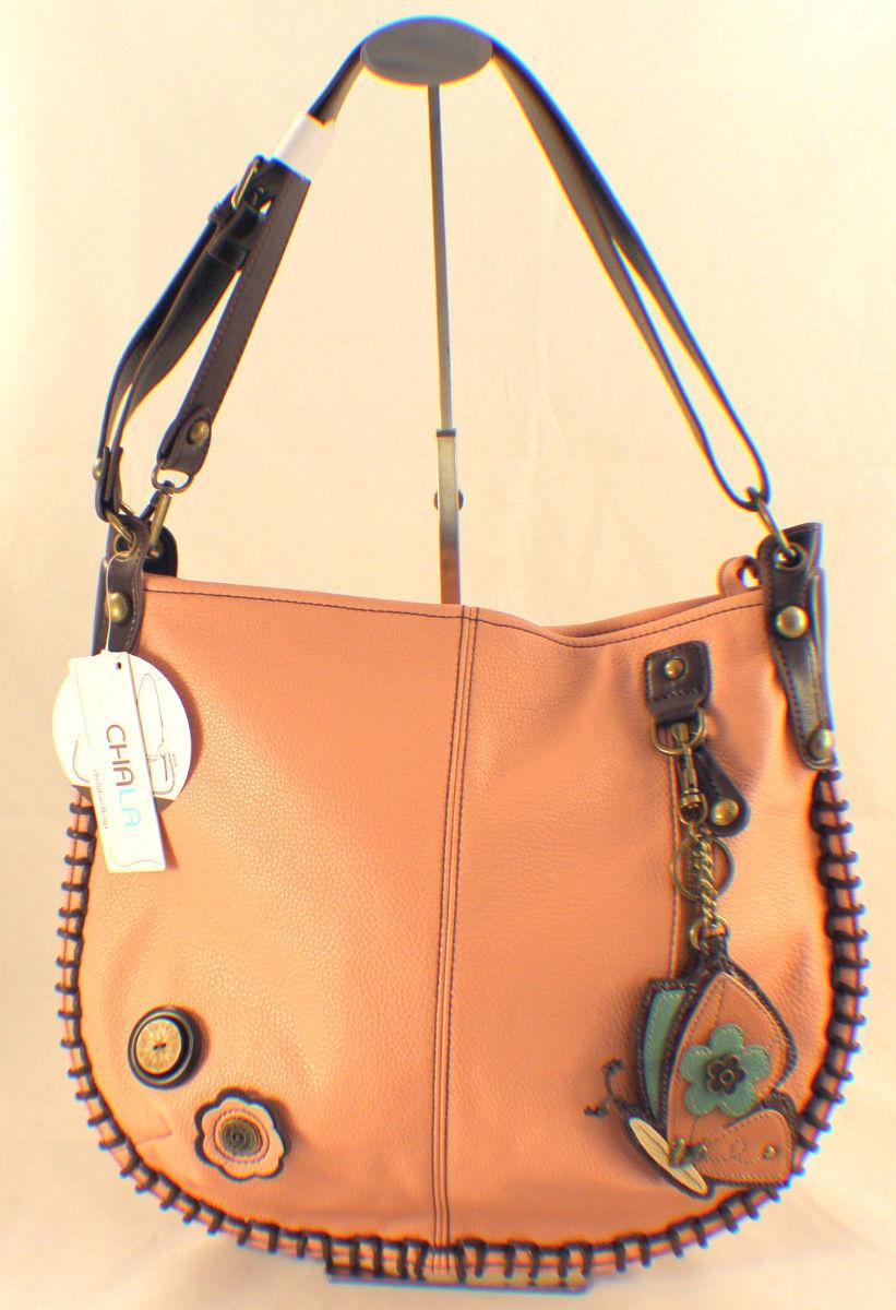 Chala Purse Handbag Leather Hobo Cross Body Convertible ButTerfly Pink