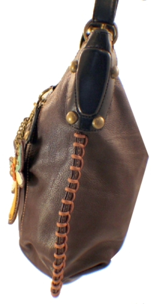 Chala Purse Handbag Leather Hobo Cross Body Convertible Dragonfly Dark Brown