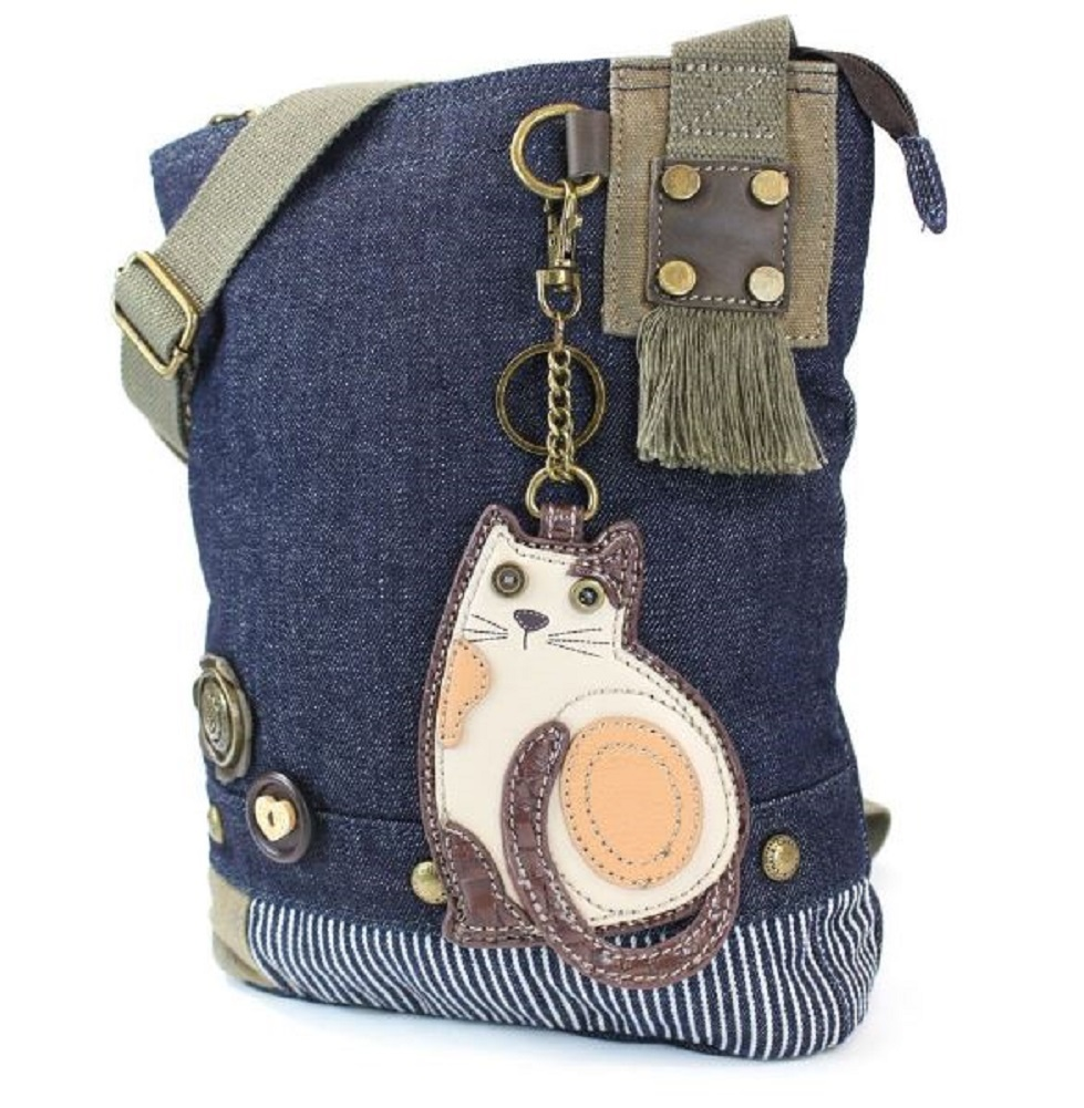 16e34f003 ... Chala Purse Handbag Denim Canvas Crossbody With Key Chain Tote Kitten  Kitty Cat ...