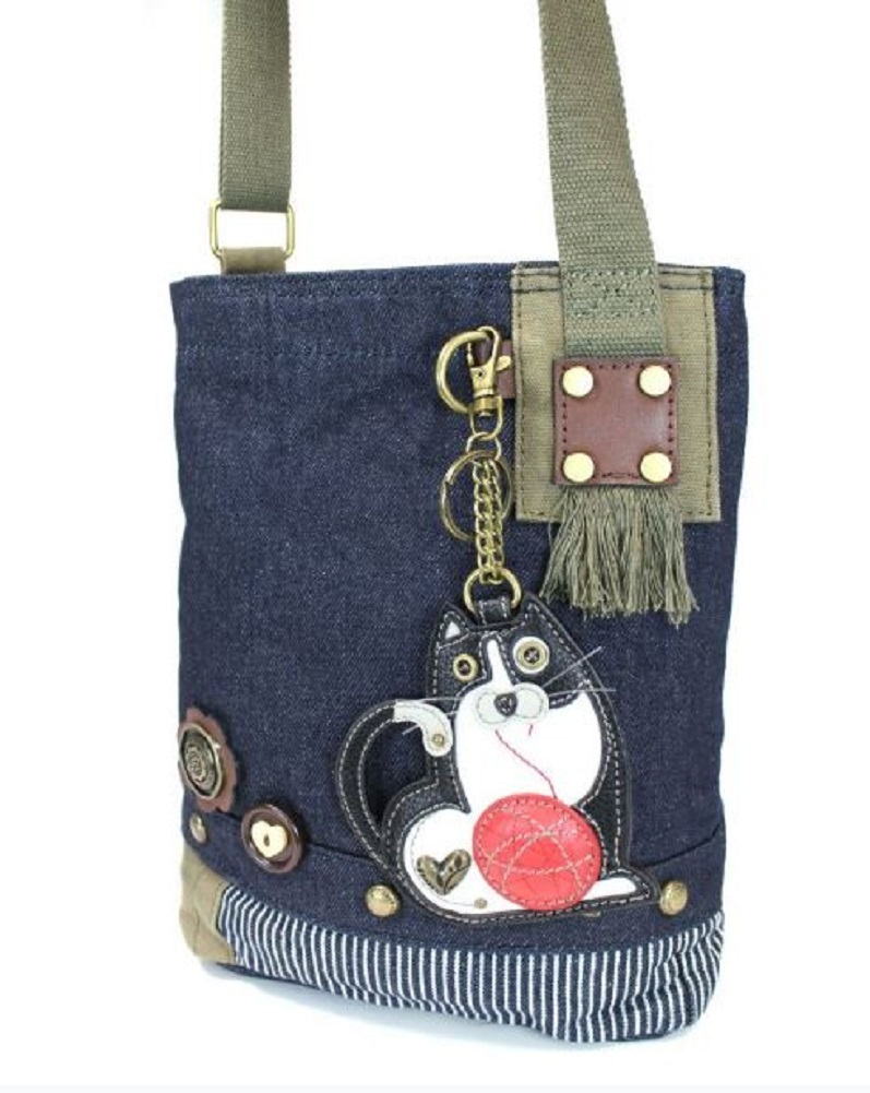 eadabd570 Chala Purse Handbag Denim Canvas Crossbody With Key Chain Tote Fat Cat ...