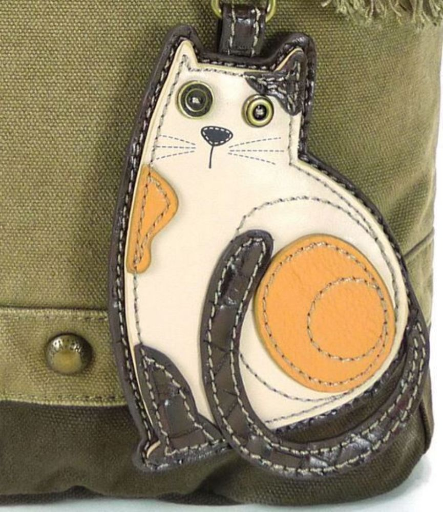 8f09e53e4 Chala Purse Handbag Canvas Crossbody with Key Chain Tote Bag Kitty Cat
