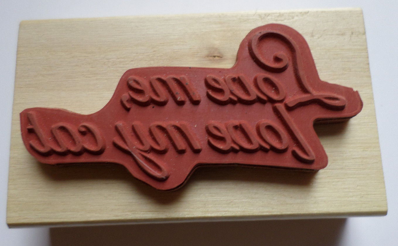 Love My Cat Quote Words Writing Wooden Rubber Stamp Anita/'s Love Me