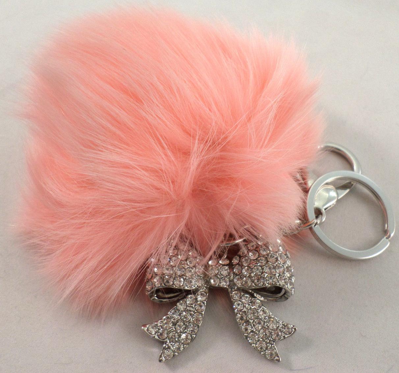 Rhinestone Bling Key Chain Fob Purse Charm Tassel Drop Bow New Pink