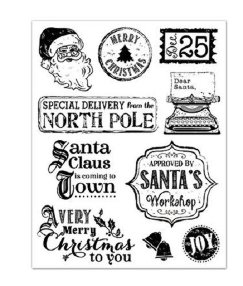 Forever in Time Clear Cling Rubber Stamp Vintage Holiday Santa Christmas set
