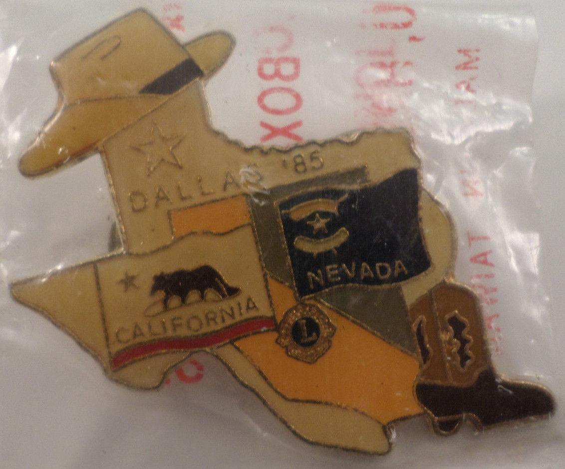 Lions Club Collectors Hat Lapel Pin Dallas Texas State California Nevada 1985 Dragonfly Whispers