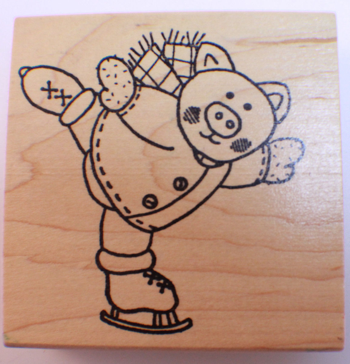 azadi earles l497 ice skating pig piggy piglet wooden rubber stamp