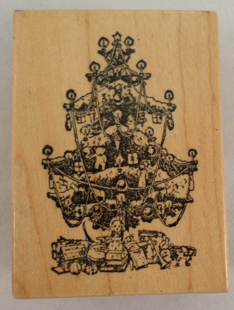 1988 Psx Vintage Christmas Tree Presents Candles Toys Wood Rubber Stamp Dragonfly Whispers