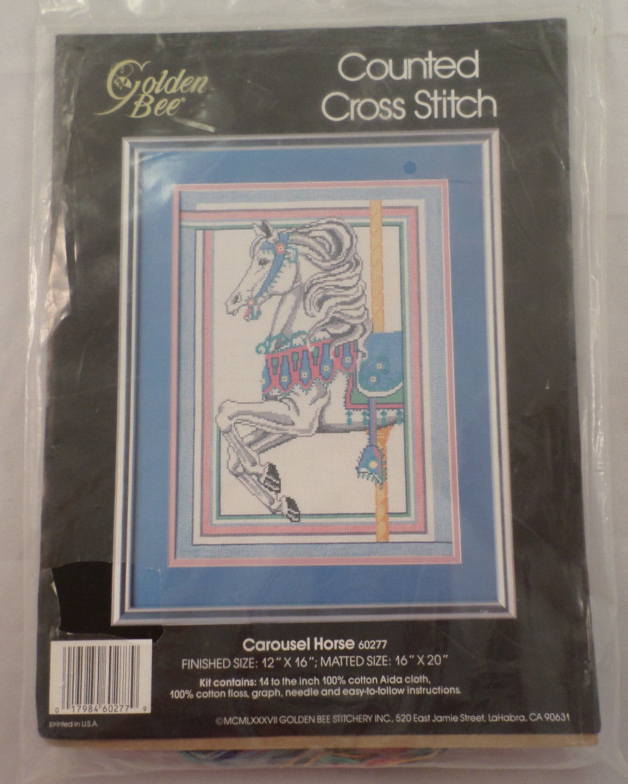 Carousel Horse Counted Cross Stitch Kit 12 X 16 1987 Golden Bee Dragonfly Whispers