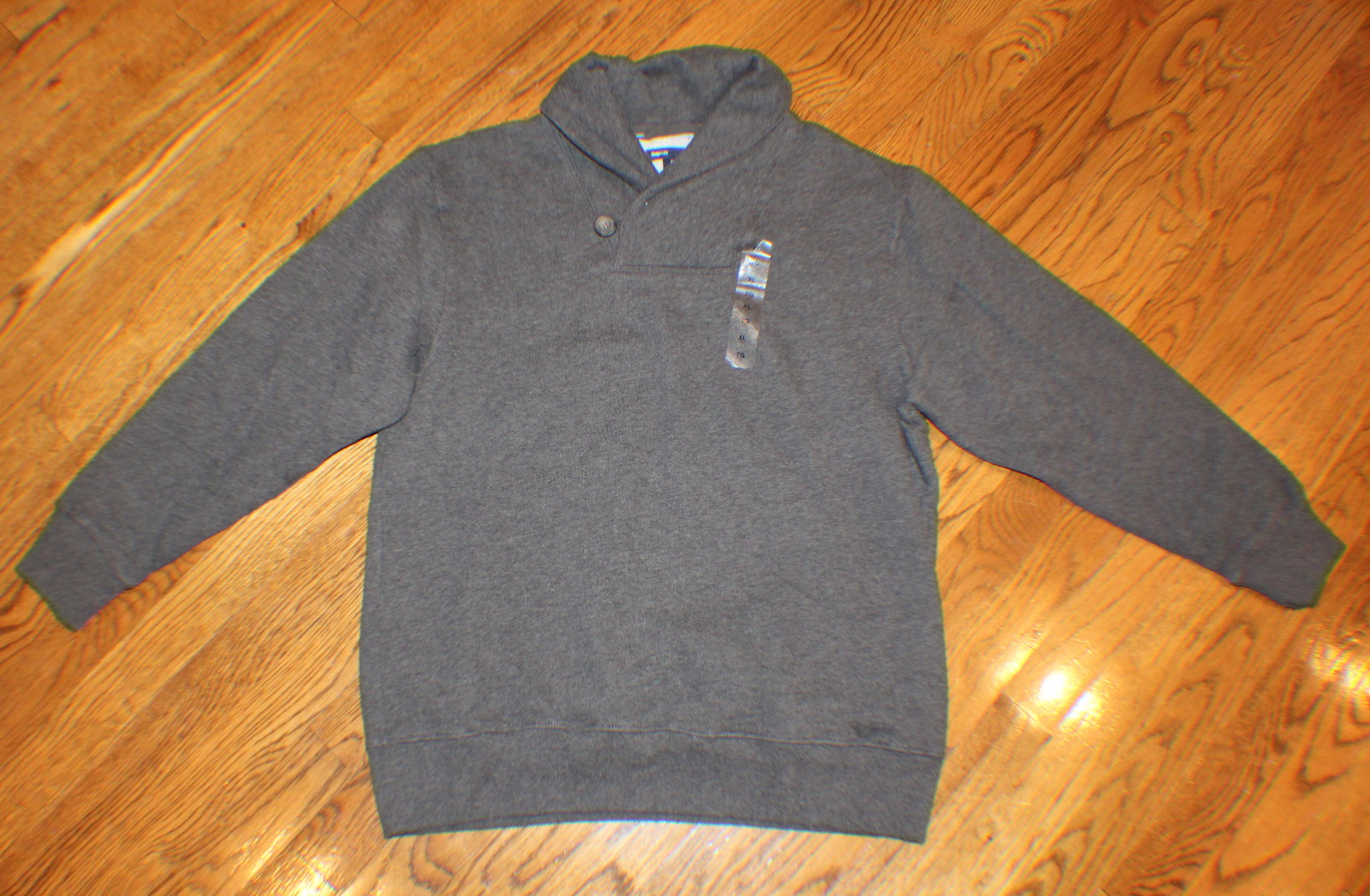 Boys NWT Gap Sz XL 12 Dark Gray Long Sleeve Sweat Shirt Button Collar