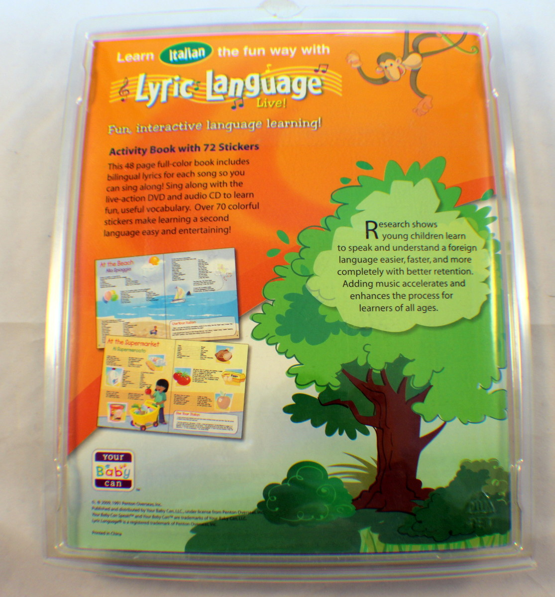 Your Baby Can Speak Italian Lyric Language 4 Disc Dvd Set Activity Book  Educ Toy