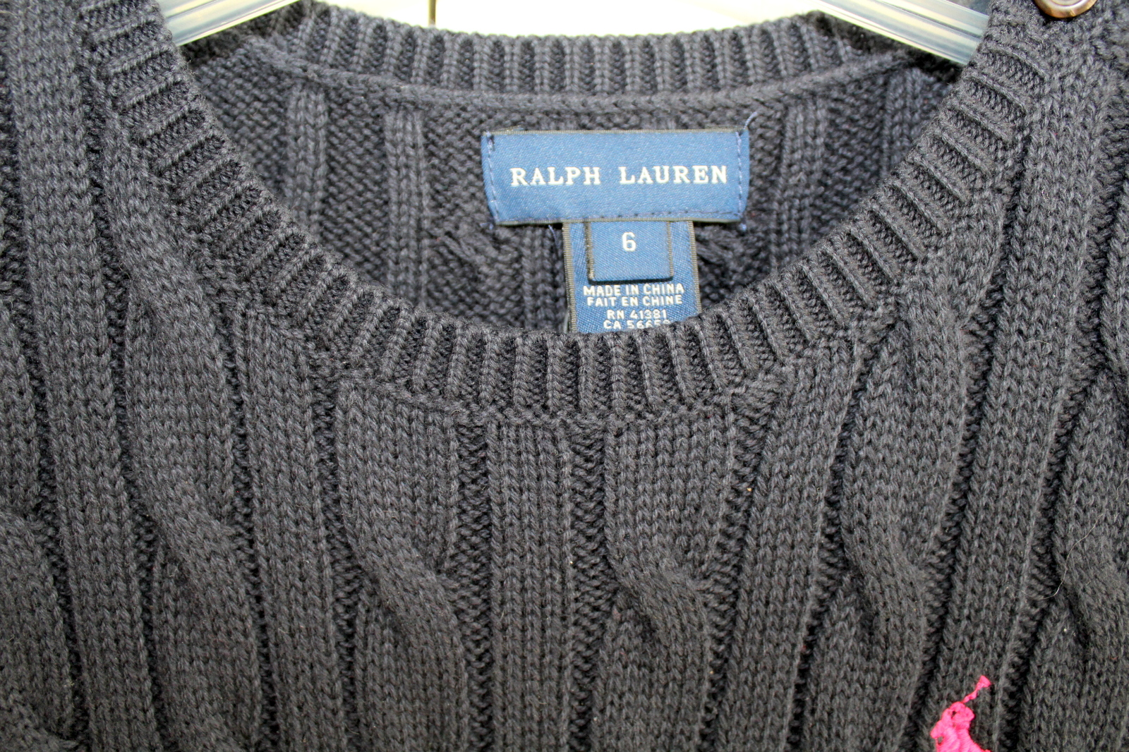 New Ralph Lauren Navy Cable Knit Short Sleeve Sweater Dress Sz 6