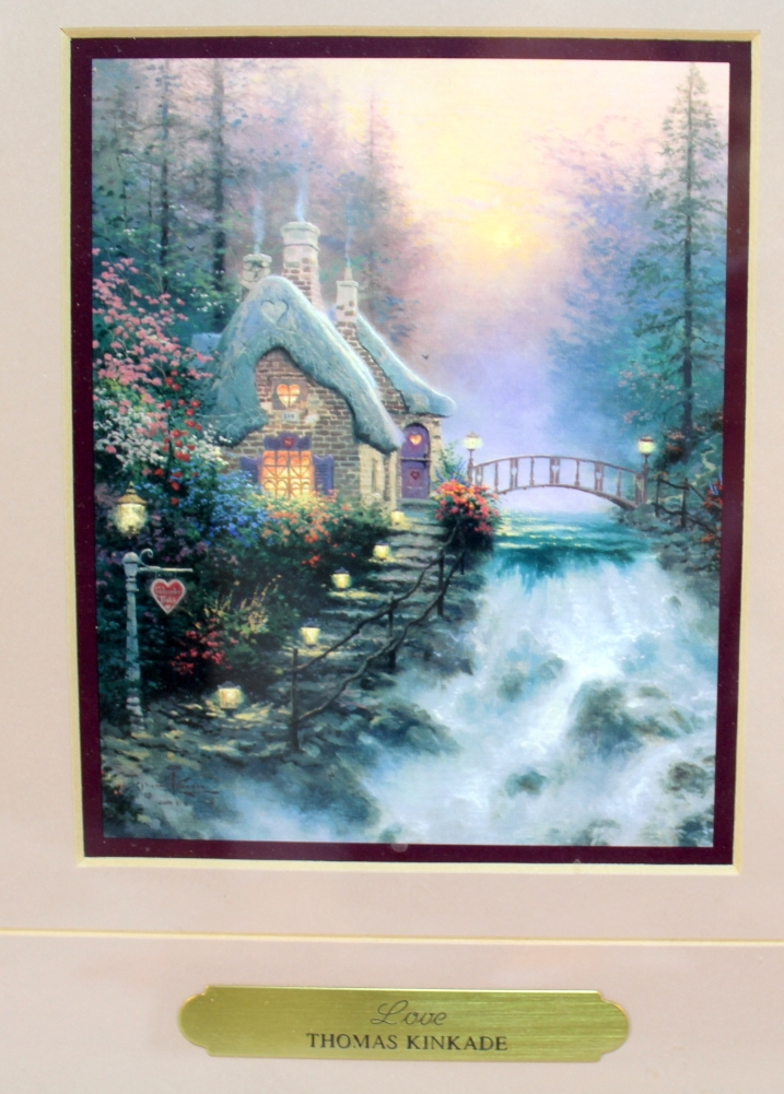 Thomas Kinkade Love Double Accent Print Burgundy Matted Gold Frame