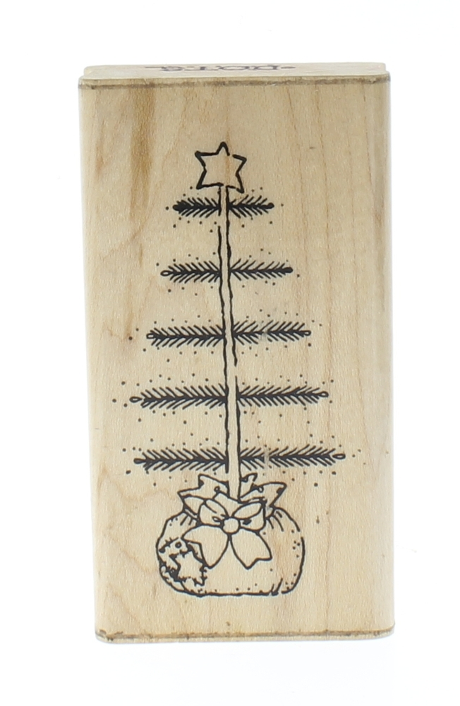 Primitive Christmas Tree.Dots Primitive Christmas Tree Wooden Rubber Stamp