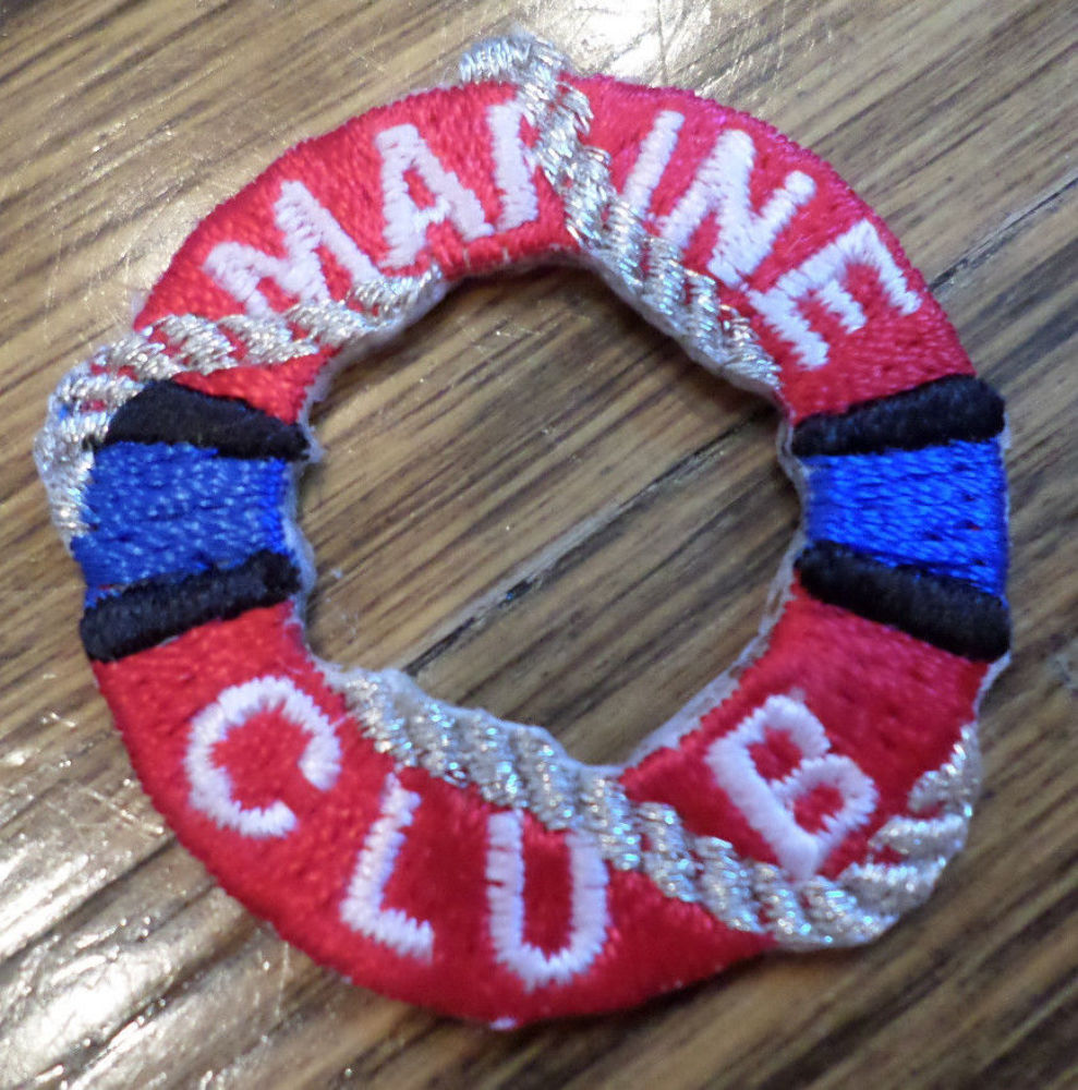 Marine Club Red And White Life Saver With Rope Uniform Patch