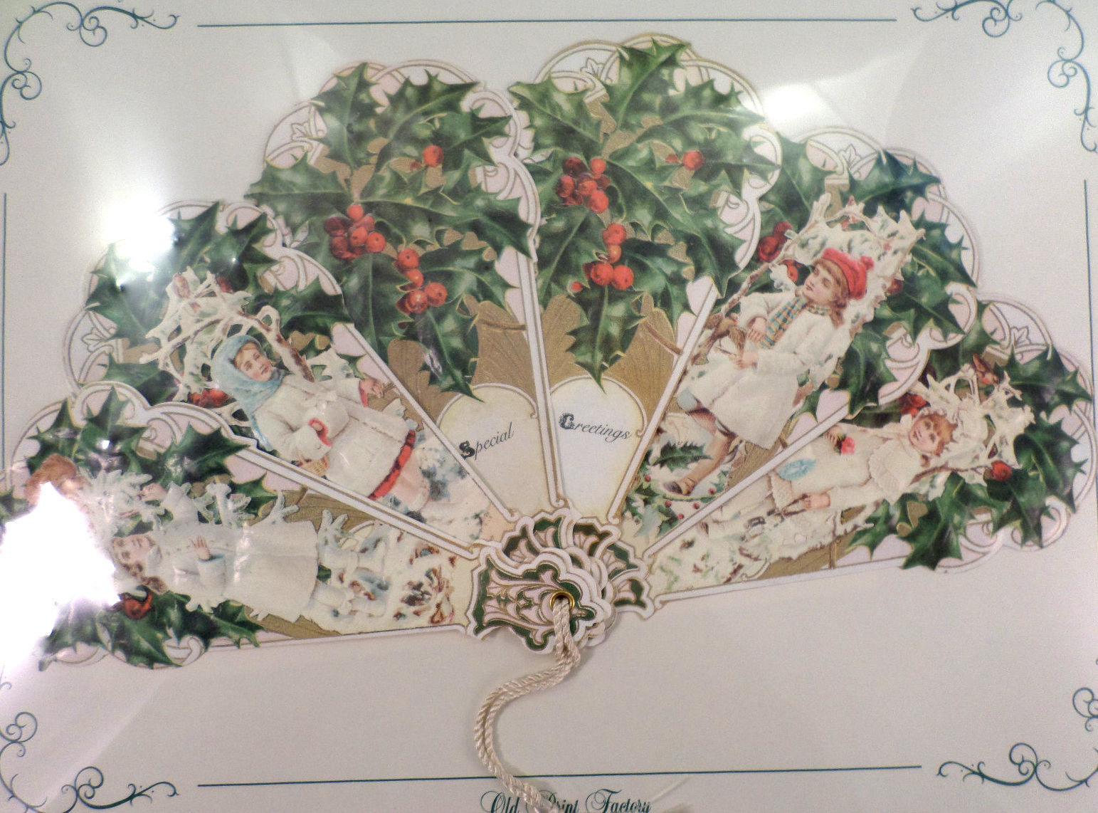Vintage Inspired Victorian Paper Fan Greeting Card Special Greetings