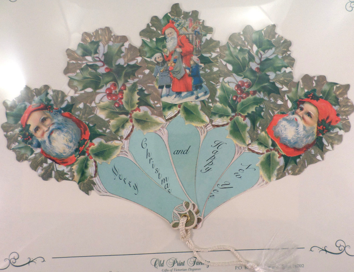 Vintage Inspired Victorian Paper Fan Greeting Card Merry Christmas ...