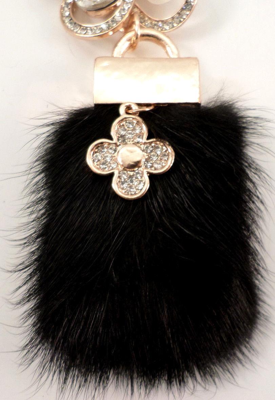 Rhinestone Flower Purse Pom-Pom Key Chain Fob Purse Phone Charm Tassel Drop   483f4b4a90411
