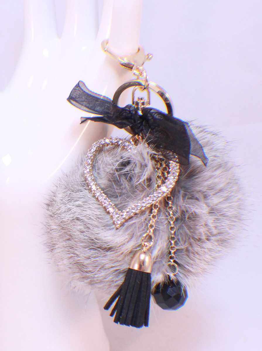 Rhinestone Bling Key Chain Fob Purse Phone Heart Charm Love Romance