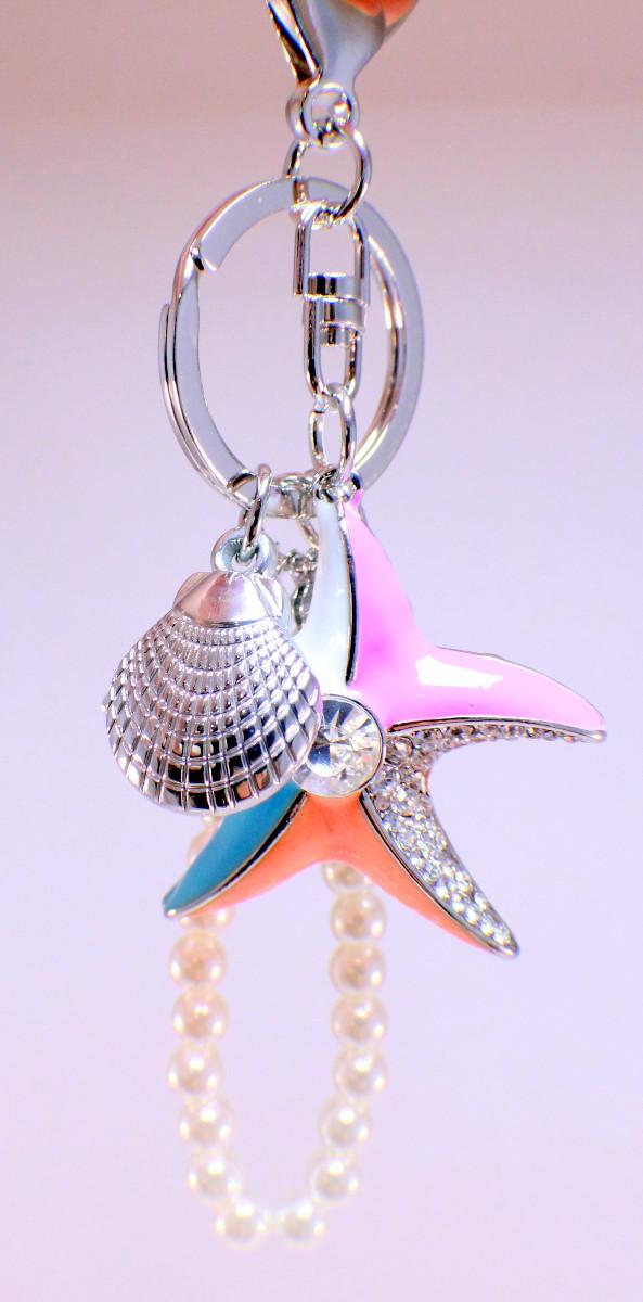 Rhinestone Bling Key Chain Fob Purse Phone Charm Seashells And Starfish