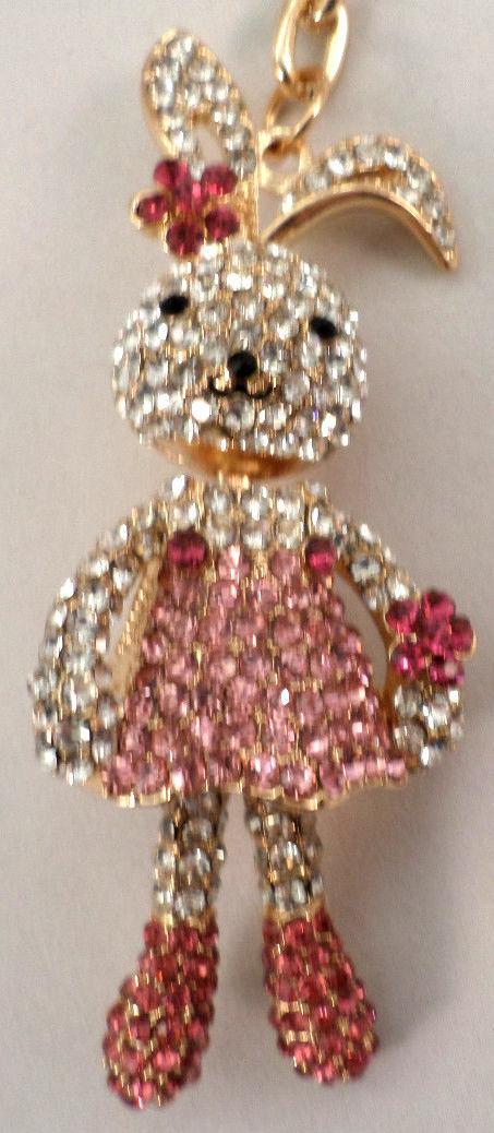 ... Rhinestone Bling Key Chain Fob Phone Purse Charm Bunny Love Rabbit ... c7c93f0e753a