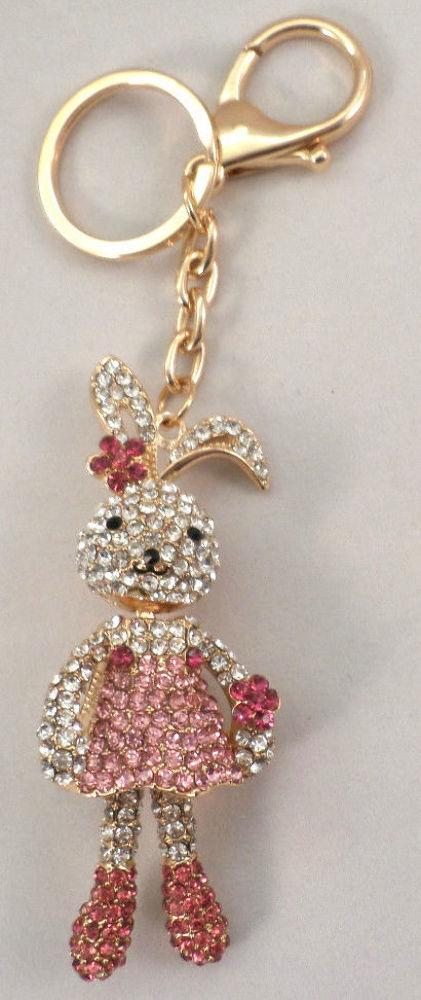 Rhinestone Bling Key Chain Fob Phone Purse Charm Bunny Love Rabbit ... e784e83ddcbf