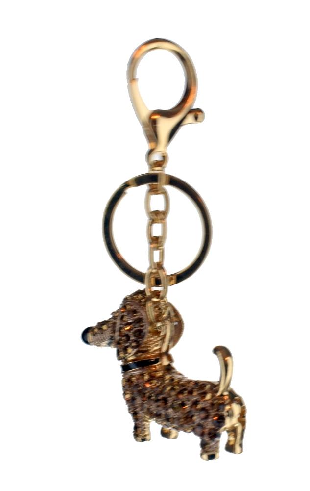 9d0a5c7995b ... Rhinestone Bling Key Chain Fob Phone Purse Charm Gold Tone Puppy Dog  Dachshund ...
