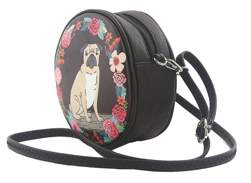 Sleepyville Floral Pug Puppy Dog Round Cross Body Shoulder Bag Handbag Purse